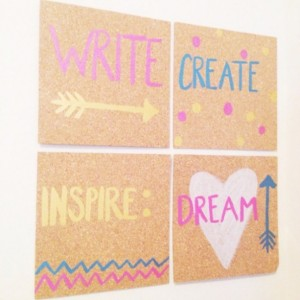 Write, Create, Inspire, Dream Set of 4 Cork boards