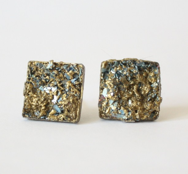 Simulated Pyrite Druzy Blue and Gold Stud Earrings Druzy Post Earrings