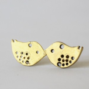 Little Gold Bird Post Earring Stud Nature Inspired Aviary Spring Summer Wedding