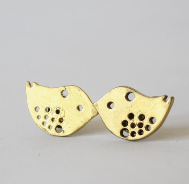 Little Gold Bird Post Earring Stud Nature Inspired Aviary Spring Summer Wedding