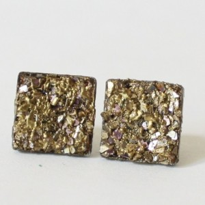Simulated Pyrite Druzy Purple  and Gold Stud Earrings, Druzy Post Earrings