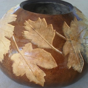 Hand Carved Oak and Maple Leaf Gourd