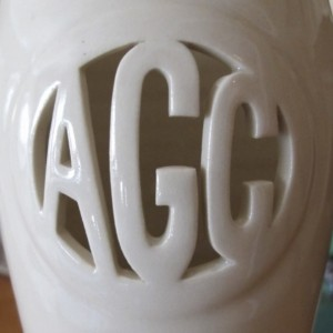 Tall 3-letter Ceramic Monogram Vase