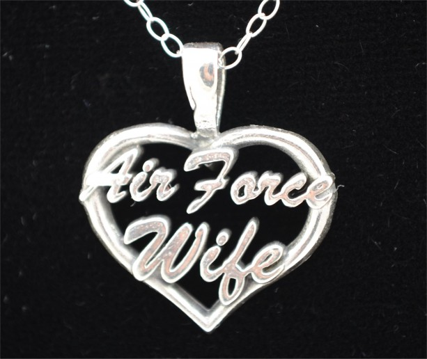 Air Force Wife Heart Pendant