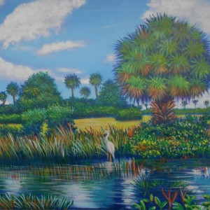 The Everglades National Park, ORIGINAL Acrylic by Awarded artist Miguel Alfaro