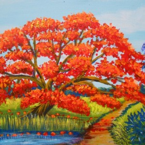 Royal Poinciana Tree (Flamboyan), ORIGINAL painting by Miguel Alfaro