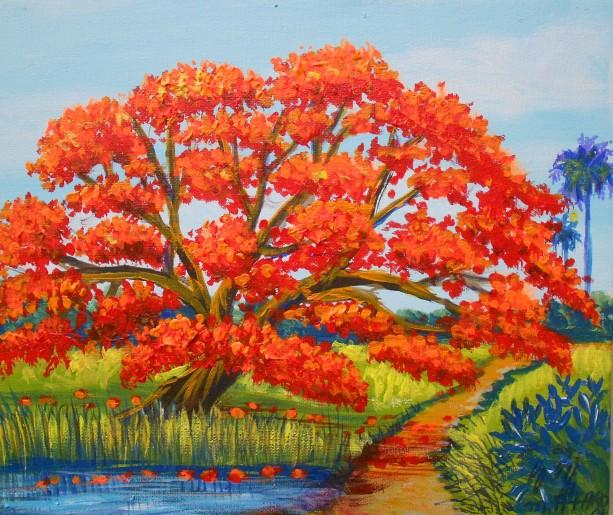 Royal Poinciana Tree (Flamboyan), ORIGINAL painting by Miguel Alfaro