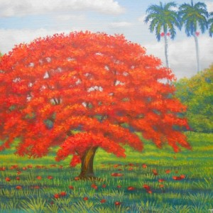 Royal Poinciana Tree, ORIGINAL Acylic & Oil painting by artist Miguel Alfaro