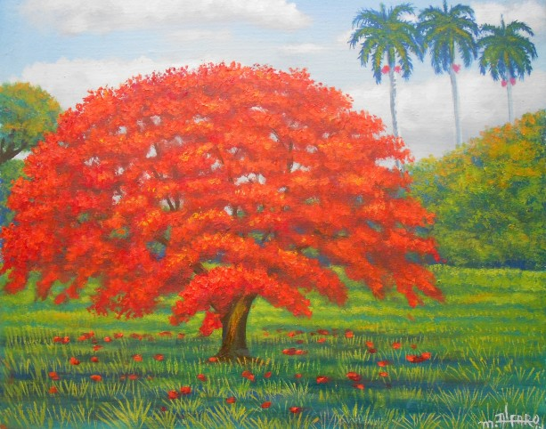 Royal Poinciana Tree, ORIGINAL Acylic & Oil painting by artist Miguel Alfaro