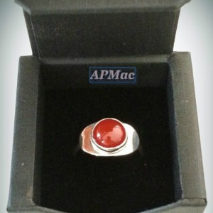 Delicious 10 mm round carnelian ring!