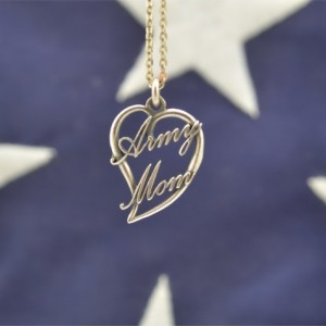 Army Mom Heart Script Pendant