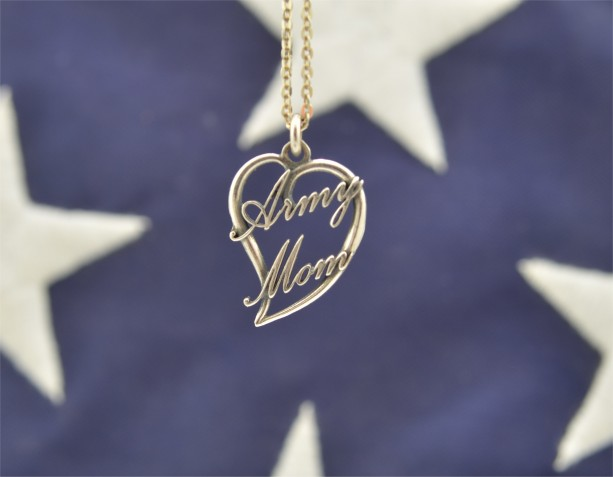 Army Mom Heart Script Pendant