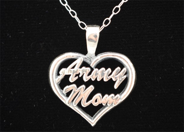 Army Mom Heart Pendant