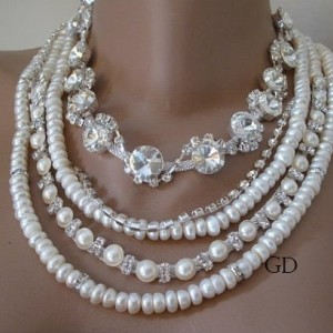 Wedding ,Handmade ivory Freshwater pearl necklace.Chunky layered