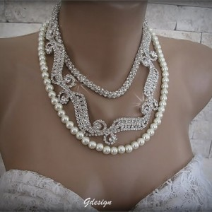 Wedding ,Handmade ivory pearl necklace,rhinestone necklace
