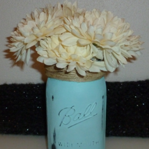 Paint Glass Ball Jar/Vase with Flowers