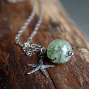 "Sterling Silver and Prehnite starfish necklace - 24"" length - Mossy Sea Star - Starfish necklace - Gift for nature lover"