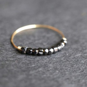 Mystic Black Bead Ring - Thin Gold Band - Black Beaded Ring - Gold Thumb Ring - Stacking Ring - Thin Filled Ring - Minimalist Handmade Ring