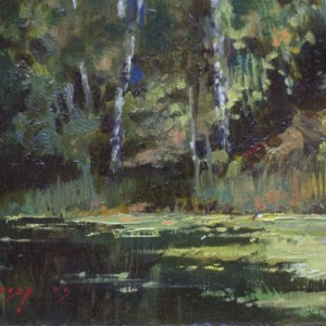 Landscape by Bogdan Goloyad 12x17 cm oil on paper (karton)