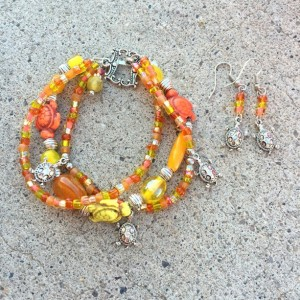 Turquoise Turtle Triple Orange and Yellow Bracelet and Earring Charm Bracelet