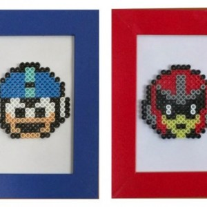 Framed Perler Bead Mega Man & Proto Man - Geekery- Nerds-NES- Gamer Gifts- Retro Gaming- 8bit Fan Art