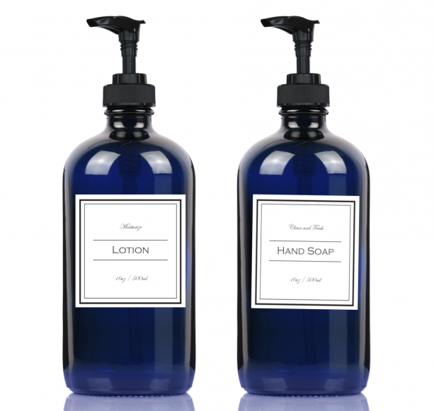 16 oz Cobalt Blue Glass Lotion & Soap Dispenser W/ Label Of Your Choice