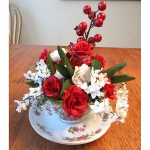 Tea Cup Flower Arrangement Red Roses