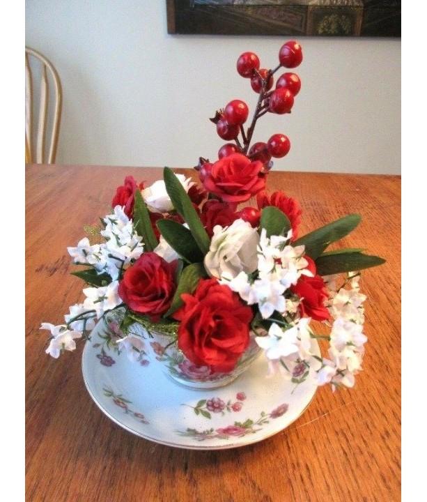 Tea Cup Flower Arrangement Red Roses