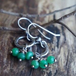Fine silver and Emerald earrings - Hand forged metalwork dangles - Organic circles, precious stones - May birthstone