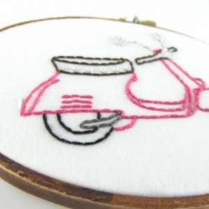 Pink Scooter Embroidery Hoop-Pink Scooter-Scooter-Pink Vespa-Vespa--Scooter Embroidery-Vespa Embroidery-Scooter Hoop-Vespa Hoop-Cute Scooter