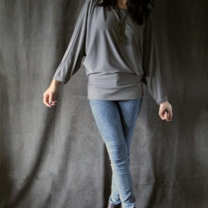 Gray Long Batwing Sleeve Loose Fit Blouse Top