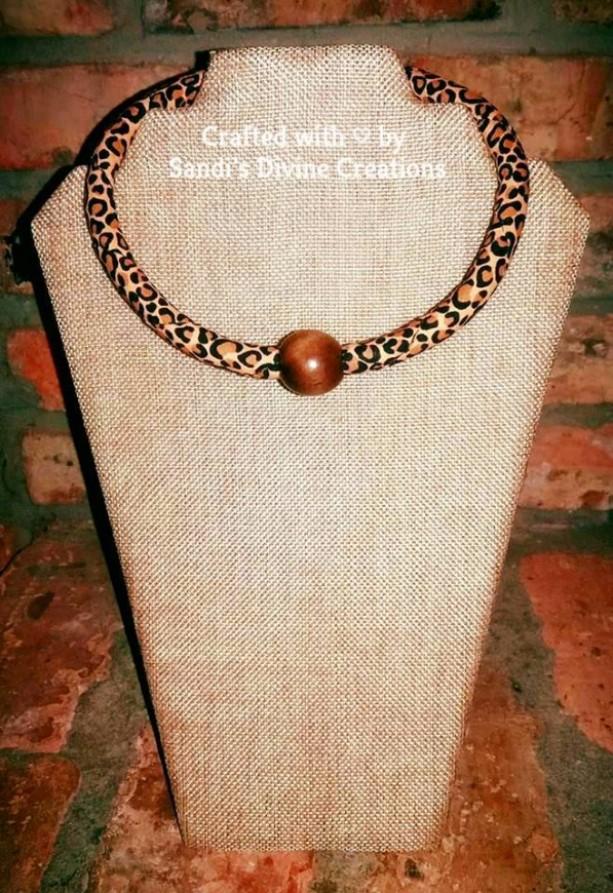 Ankara Animal Print Beaded Necklace,  Ankara Necklace, African Print Beaded Necklace, Beaded Ankara Rope Necklace, Ankara Print Necklace