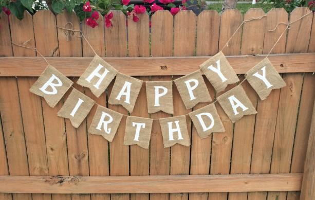 Burlap 'Happy Birthday' Banner