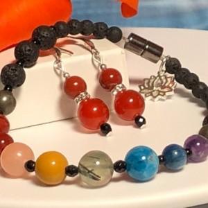 Set - Advanced Chakra Bracelet and Earrings  |  Meditation  |  Yoga  |  Reiki  |  Mood  |  Calm  |  Protection