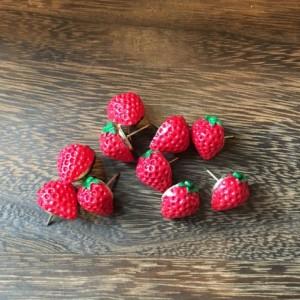 Red Strawberry Pushpins (Set of 10), Thumbtacks, Cork board, Locker, Cubicle, Desk, Home Office, Tacks