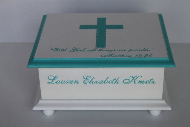 Christening or Confirmation Keepsake Memory Box personalized - turquoise cross baby gift