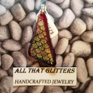 Red and Gold Dichroic Pendant with Sterling Silver Finding. Great gift idea for any holiday, birthday, or anniversary.  Good on choker/chain