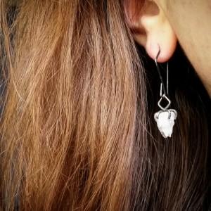 Raw Quartz Crystal Oxidized Sterling Silver Drop Dangle Earrings Svart Earrings