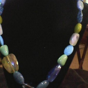 Blue &  Green Homemade Jewelry Set Ring, Earrings, Necklace, and Bracelet
