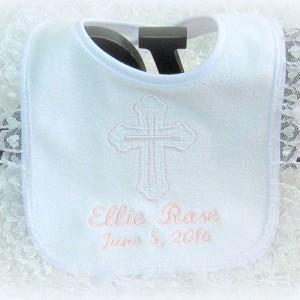 Beautiful Baptism Christening Dedication Bib, elegant white heart lace, terry cloth bib, perfect & unique godchild godparent religious gift