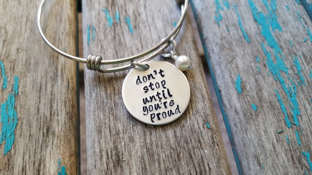 """Pride Bracelet- """"don't stop until you're proud"""" with an accent bead of your choice"""