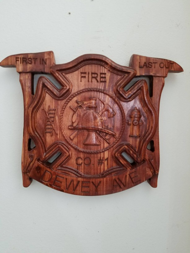 Personalized Fire Dept fighter V Carved Wooden Sign
