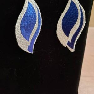 Silver and metallic blue, faux leather, nickel free fishhook earrings
