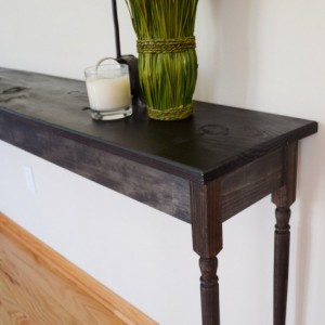 The Marlene - Black Long Pine Sofa Table with Oak Legs