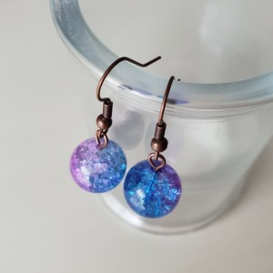 Beautiful Handmade Crackle Glass Pink, Yellow, Blue, Purple Dangle Drop Earrings