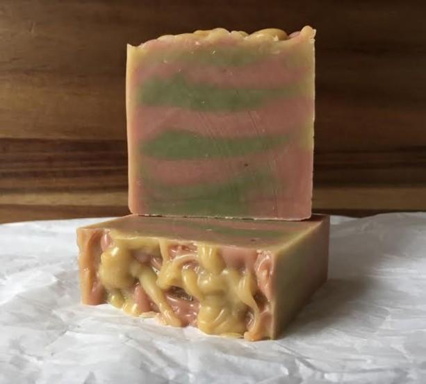 2 Bars RefreshMint; Spearmint + Geranium Scented Handmade Cold Process Bar Soap 100% Natural & Vegan