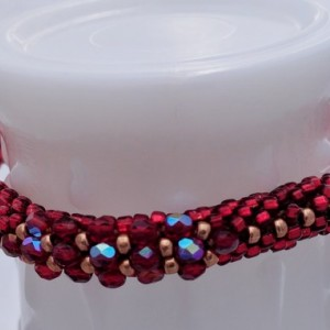 Red Square Bead Crochet Bangle