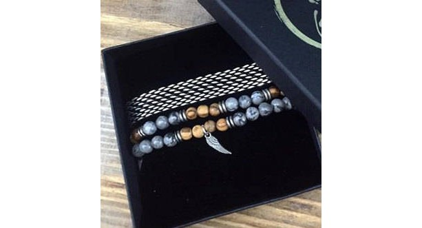 Men's Bracelet Set - Men's Beaded Bracelet - Men's Silver Bracelet - Men's Cuff Bracelet - Men's Jewelry - Men's Gift - Present For Men