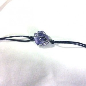 Wire wrapped polished stone leather bracelet, Purple bracelet