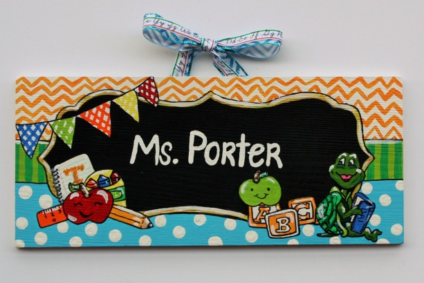 Teacher Sign -- Unique, hand painted sign depicting your child's one-of-a-kind teacher